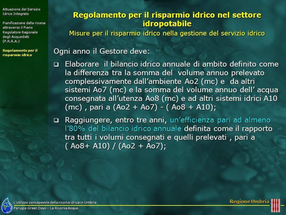 Lutilizzo consapevole della risorsa idrica in Umbria Perugia Green Days – La Risorsa Acqua Regione Umbria Ogni anno il Gestore deve: Elaborare il bila