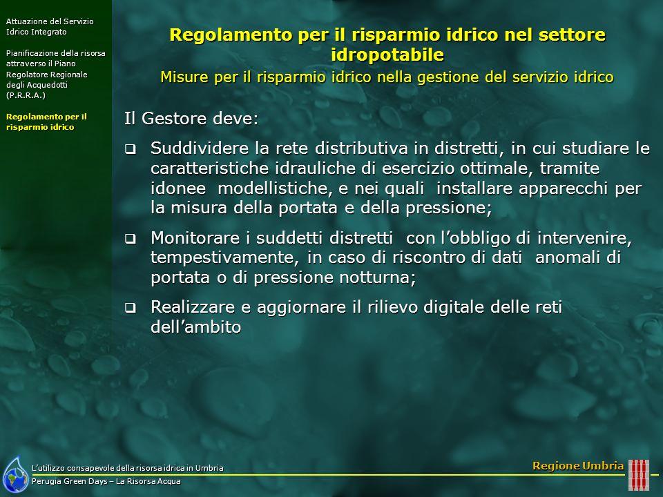 Lutilizzo consapevole della risorsa idrica in Umbria Perugia Green Days – La Risorsa Acqua Regione Umbria Il Gestore deve: Suddividere la rete distrib