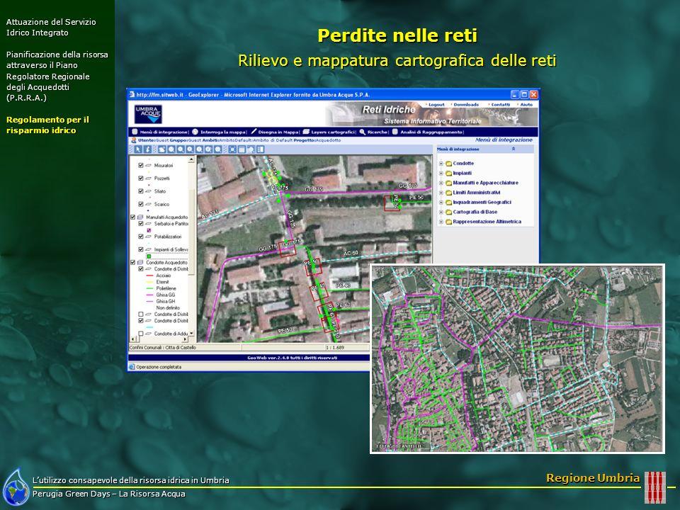 Lutilizzo consapevole della risorsa idrica in Umbria Perugia Green Days – La Risorsa Acqua Regione Umbria Perdite nelle reti Rilievo e mappatura carto