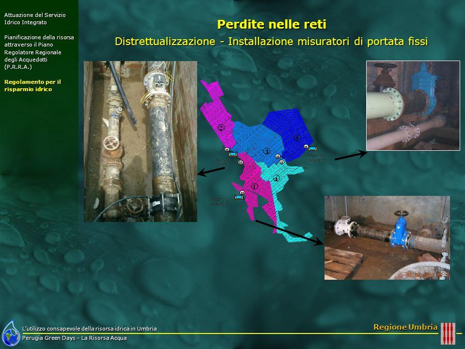 Lutilizzo consapevole della risorsa idrica in Umbria Perugia Green Days – La Risorsa Acqua Regione Umbria Perdite nelle reti Distrettualizzazione - In