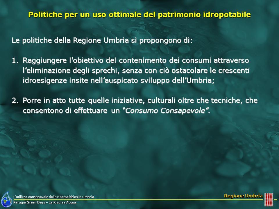 Lutilizzo consapevole della risorsa idrica in Umbria Perugia Green Days – La Risorsa Acqua Regione Umbria Le politiche della Regione Umbria si propong