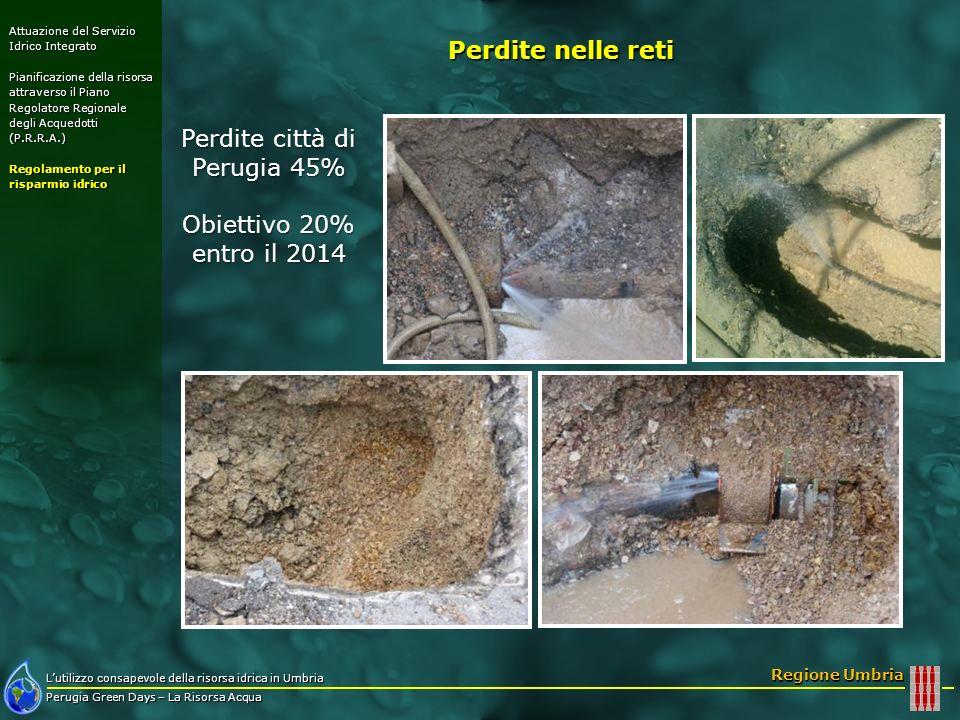 Lutilizzo consapevole della risorsa idrica in Umbria Perugia Green Days – La Risorsa Acqua Regione Umbria Perdite città di Perugia 45% Obiettivo 20% e