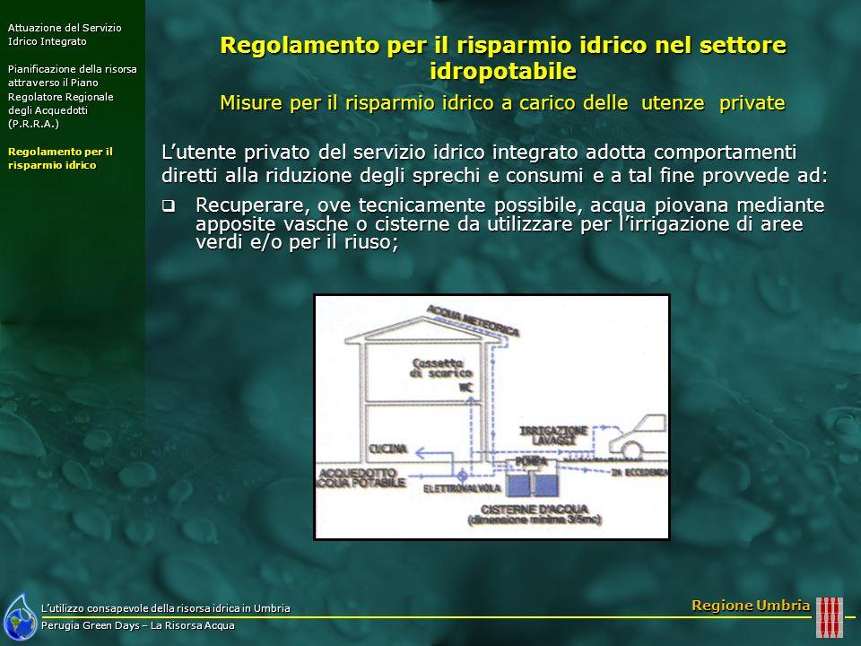 Lutilizzo consapevole della risorsa idrica in Umbria Perugia Green Days – La Risorsa Acqua Regione Umbria Lutente privato del servizio idrico integrat