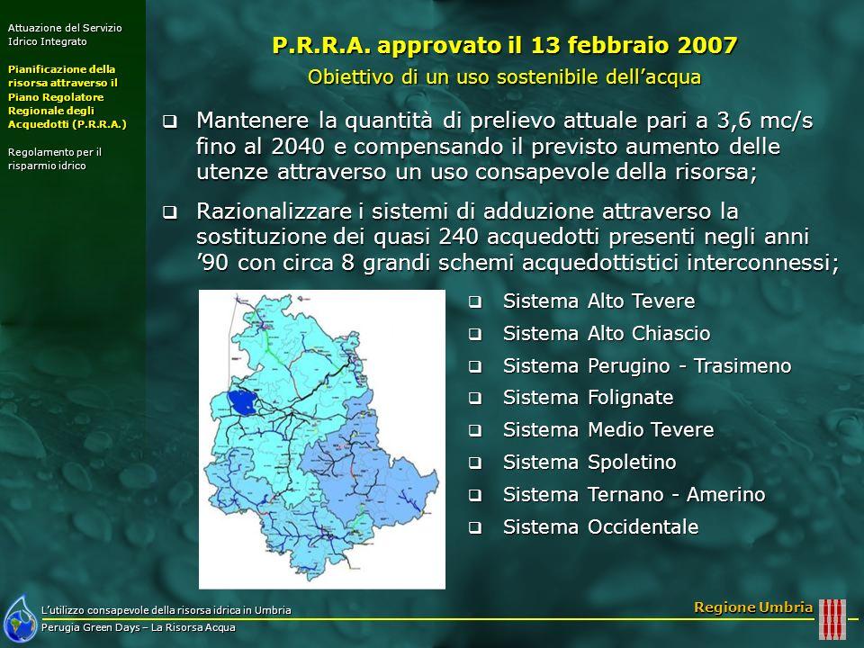Lutilizzo consapevole della risorsa idrica in Umbria Perugia Green Days – La Risorsa Acqua Regione Umbria Attuazione del Servizio Idrico Integrato Pianificazione della risorsa attraverso il Piano Regolatore Regionale degli Acquedotti (P.R.R.A.) Regolamento per il risparmio idrico Mantenere la quantità di prelievo attuale pari a 3,6 mc/s fino al 2040 e compensando il previsto aumento delle utenze attraverso un uso consapevole della risorsa; Mantenere la quantità di prelievo attuale pari a 3,6 mc/s fino al 2040 e compensando il previsto aumento delle utenze attraverso un uso consapevole della risorsa; Razionalizzare i sistemi di adduzione attraverso la sostituzione dei quasi 240 acquedotti presenti negli anni 90 con circa 8 grandi schemi acquedottistici interconnessi; Razionalizzare i sistemi di adduzione attraverso la sostituzione dei quasi 240 acquedotti presenti negli anni 90 con circa 8 grandi schemi acquedottistici interconnessi; Utilizzare le risorse idriche in funzione dellandamento stagionale Utilizzare le risorse idriche in funzione dellandamento stagionale P.R.R.A.
