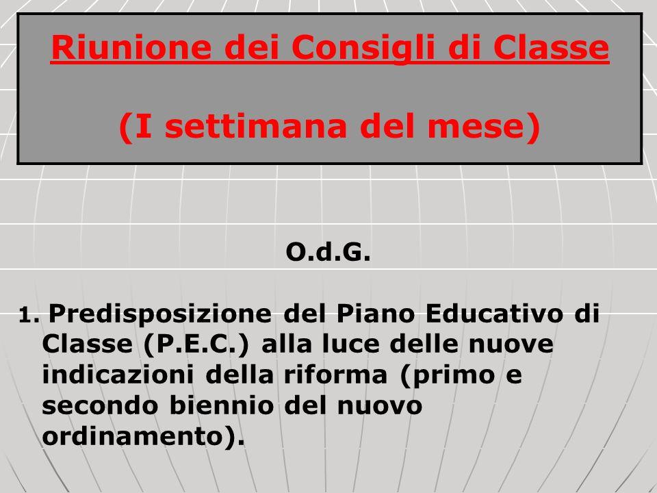Riunione dei Consigli di Classe (I settimana del mese) O.d.G. 1. Predisposizione del Piano Educativo di Classe (P.E.C.) alla luce delle nuove indicazi