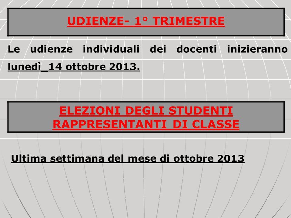 Le udienze individuali dei docenti inizieranno lunedì_14 ottobre 2013. Ultima settimana del mese di ottobre 2013 UDIENZE- 1° TRIMESTRE ELEZIONI DEGLI