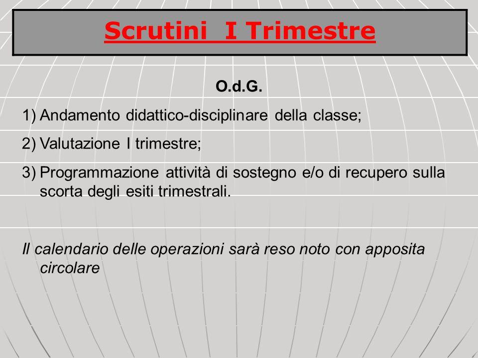 O.d.G. 1)Andamento didattico-disciplinare della classe; 2)Valutazione I trimestre; 3)Programmazione attività di sostegno e/o di recupero sulla scorta