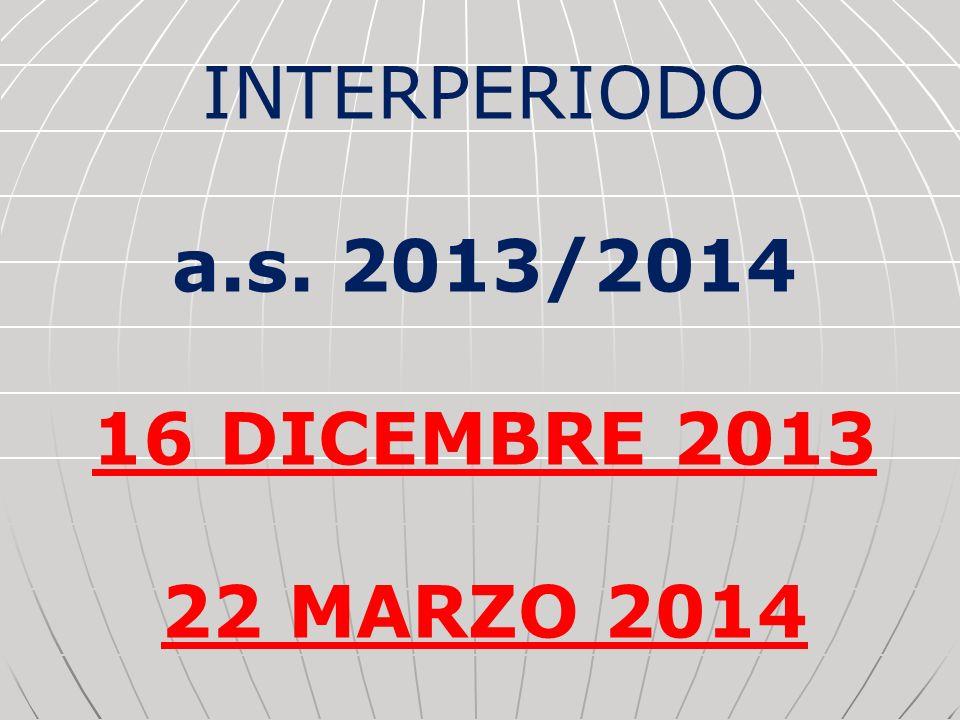 INTERPERIODO a.s. 2013/2014 16 DICEMBRE 2013 22 MARZO 2014