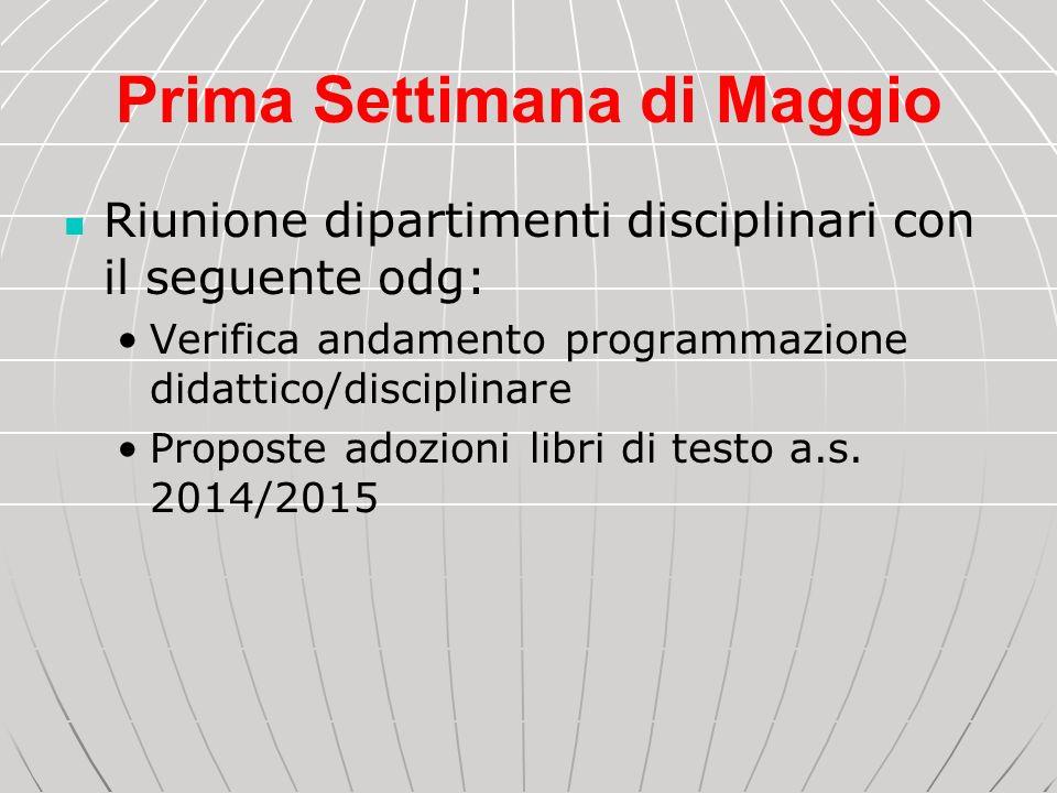 Prima Settimana di Maggio Riunione dipartimenti disciplinari con il seguente odg: Verifica andamento programmazione didattico/disciplinare Proposte ad