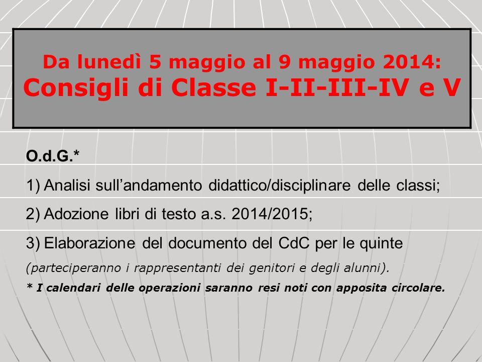 O.d.G.* 1)Analisi sullandamento didattico/disciplinare delle classi; 2)Adozione libri di testo a.s. 2014/2015; 3)Elaborazione del documento del CdC pe