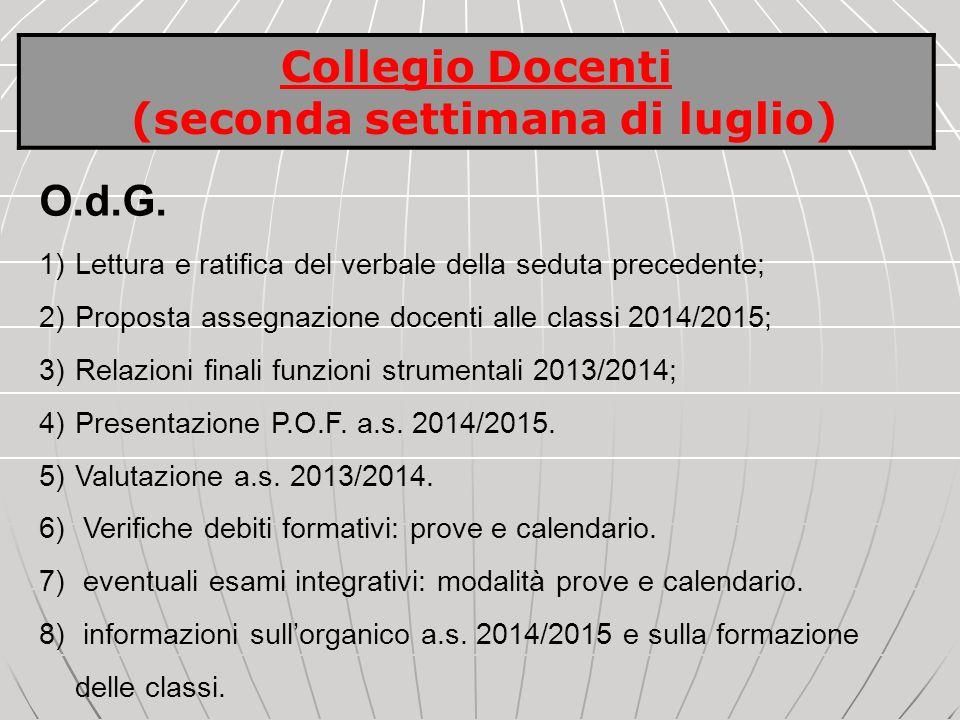 O.d.G. 1)Lettura e ratifica del verbale della seduta precedente; 2)Proposta assegnazione docenti alle classi 2014/2015; 3)Relazioni finali funzioni st