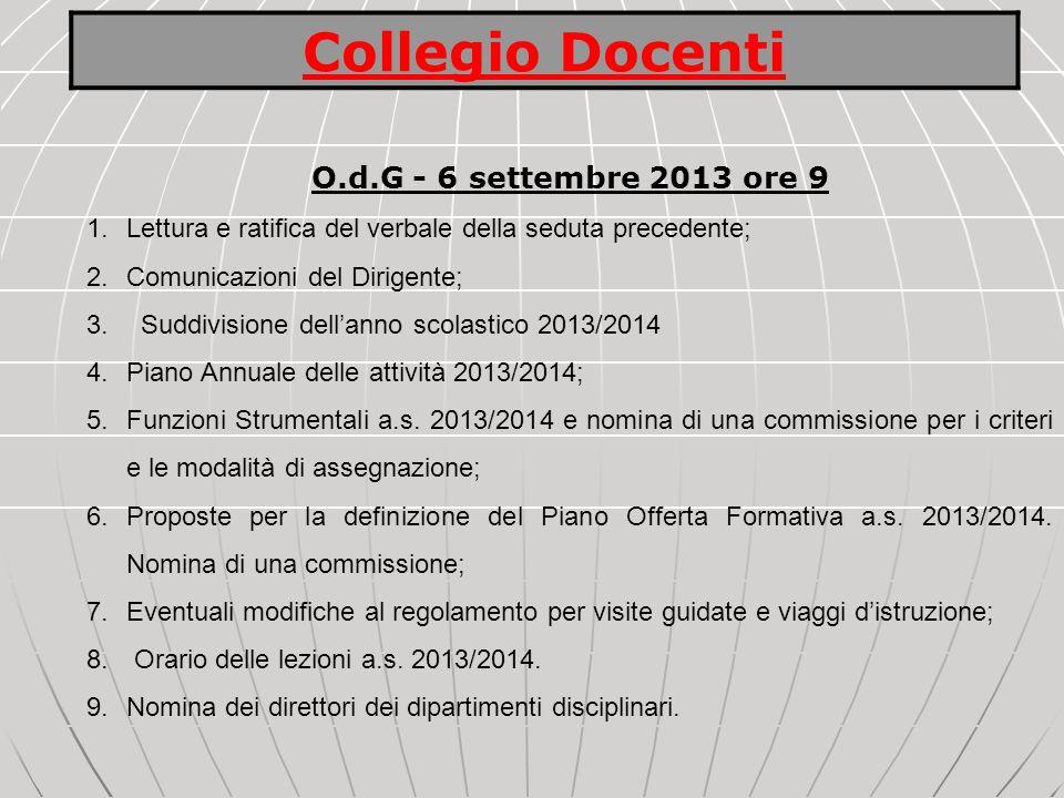 O.d.G - 6 settembre 2013 ore 9 1.Lettura e ratifica del verbale della seduta precedente; 2.Comunicazioni del Dirigente; 3. Suddivisione dellanno scola