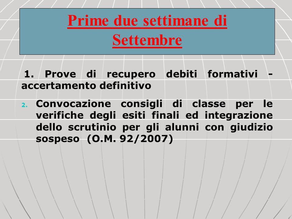 1. Prove di recupero debiti formativi - accertamento definitivo 2. Convocazione consigli di classe per le verifiche degli esiti finali ed integrazione