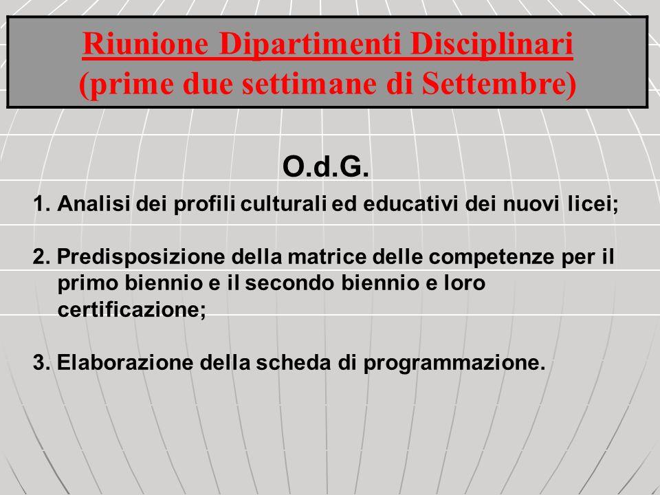 Riunione Dipartimenti Disciplinari (prime due settimane di Settembre) O.d.G. 1.Analisi dei profili culturali ed educativi dei nuovi licei; 2. Predispo