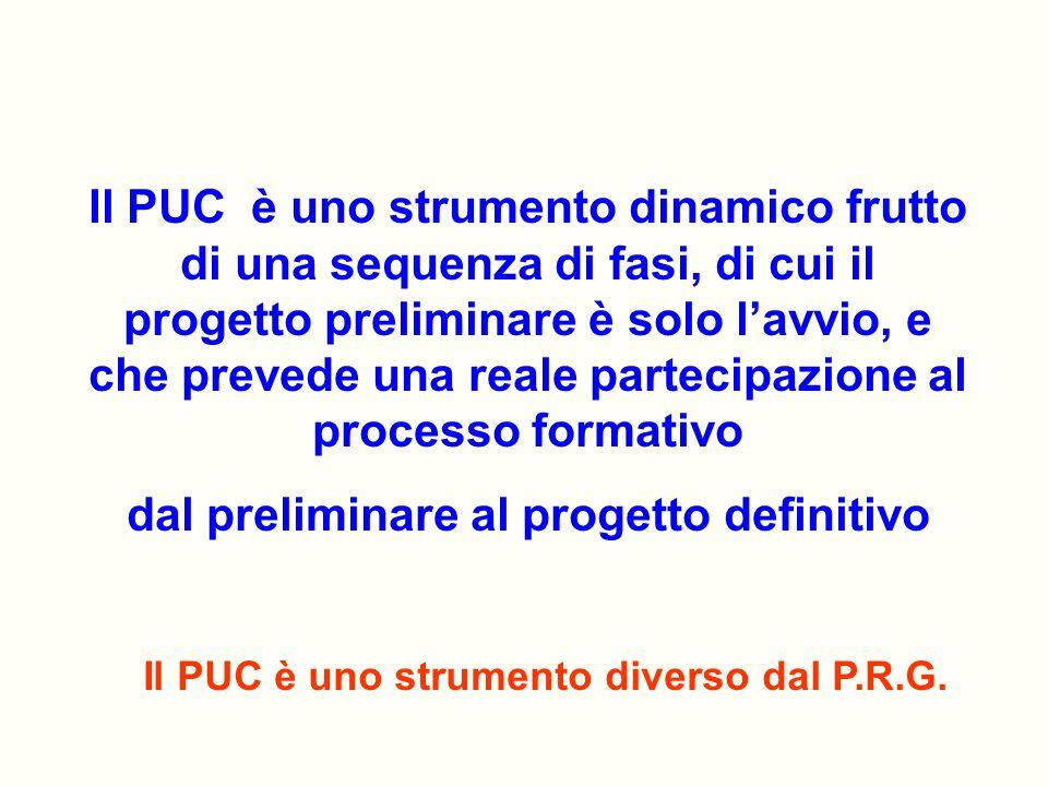 Il PUC è uno strumento diverso dal P.R.G. Il PUC è uno strumento dinamico frutto di una sequenza di fasi, di cui il progetto preliminare è solo lavvio