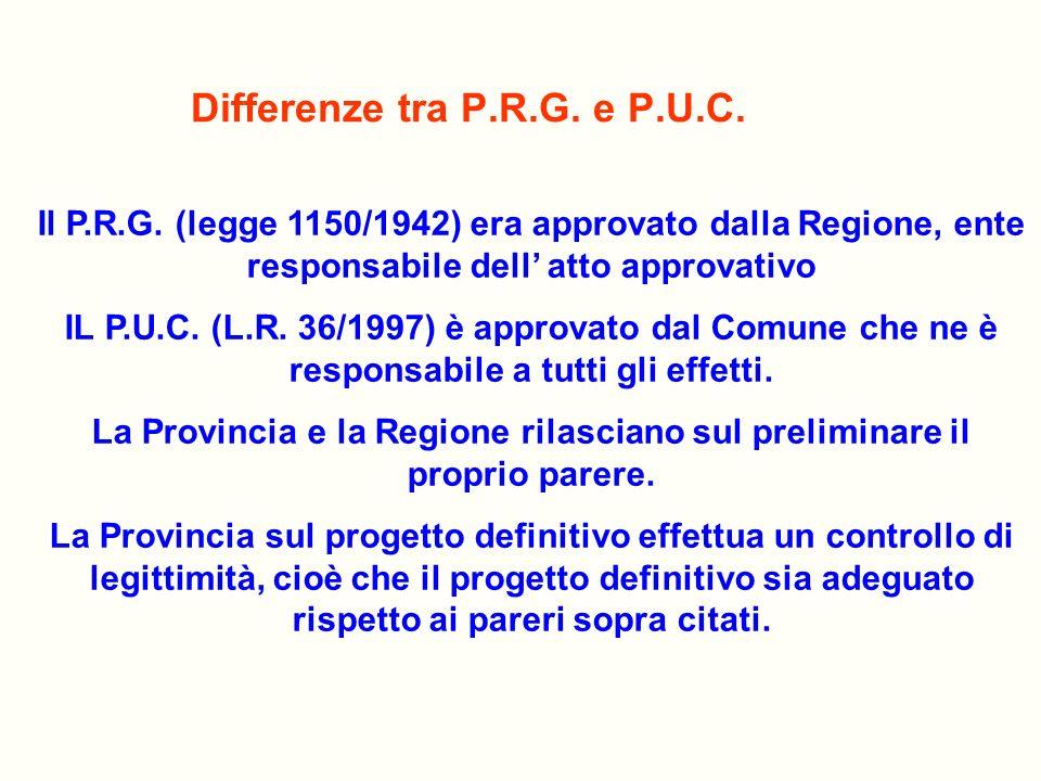 Differenze tra P.R.G. e P.U.C. Il P.R.G. (legge 1150/1942) era approvato dalla Regione, ente responsabile dell atto approvativo IL P.U.C. (L.R. 36/199