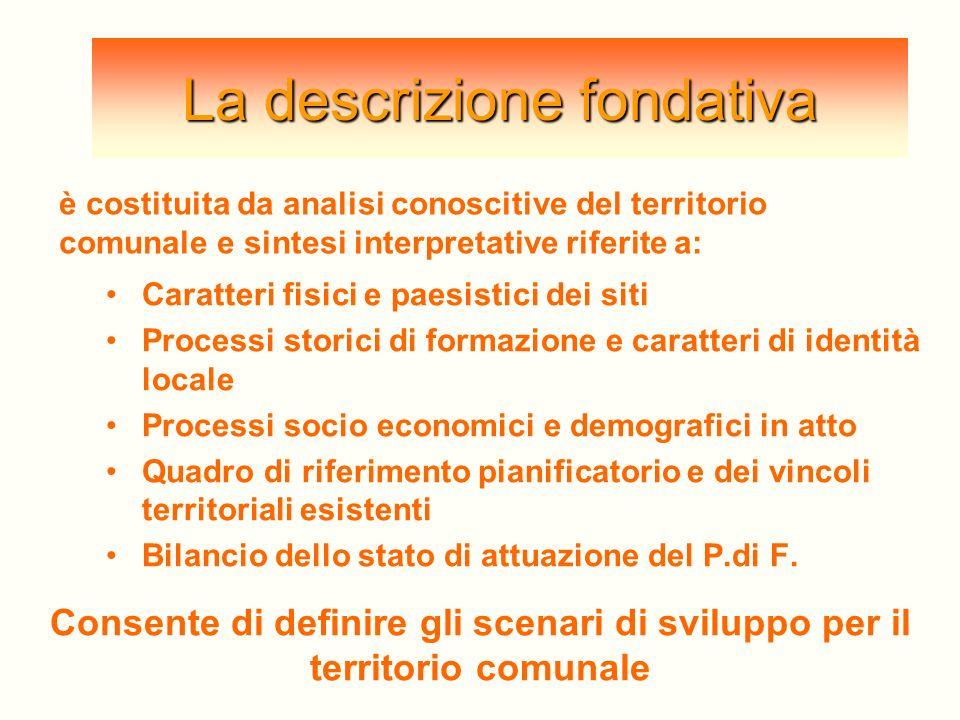 La descrizione fondativa Caratteri fisici e paesistici dei siti Processi storici di formazione e caratteri di identità locale Processi socio economici