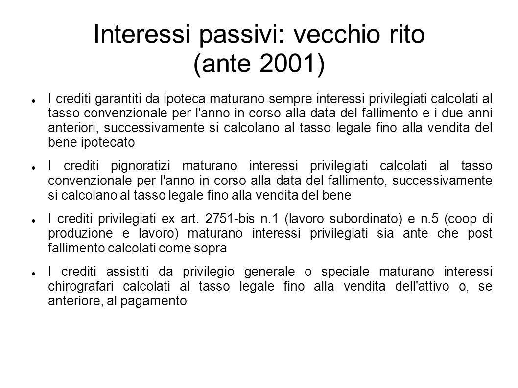 Interessi passivi: vecchio rito (ante 2001) I crediti garantiti da ipoteca maturano sempre interessi privilegiati calcolati al tasso convenzionale per