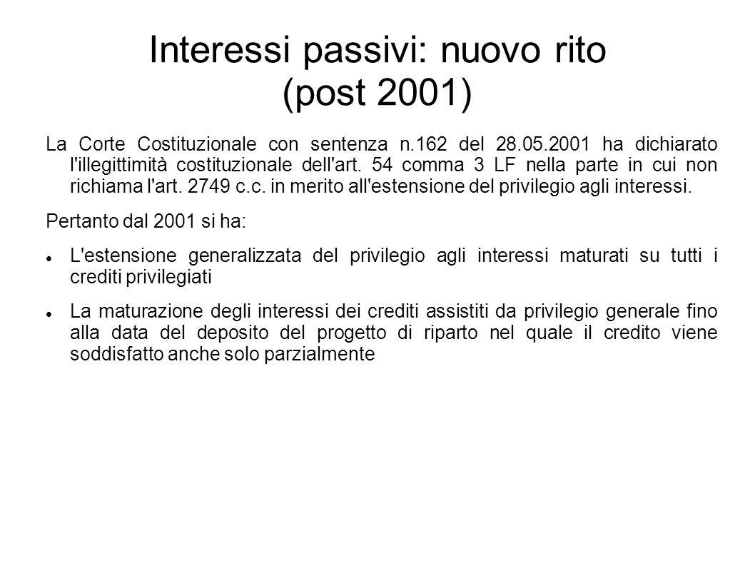 Interessi passivi: nuovo rito (post 2001) La Corte Costituzionale con sentenza n.162 del 28.05.2001 ha dichiarato l'illegittimità costituzionale dell'