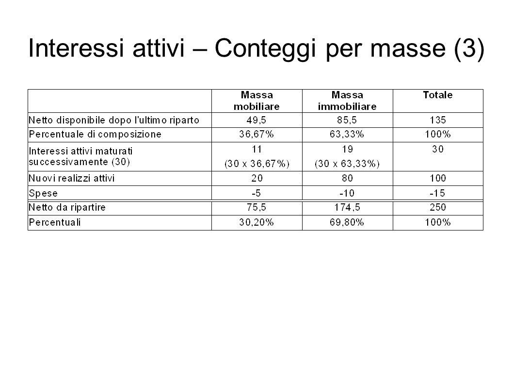 Interessi attivi – Conteggi per masse (3)