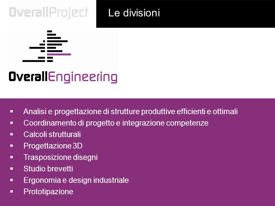 Analisi e progettazione di strutture produttive efficienti e ottimali Coordinamento di progetto e integrazione competenze Le divisioni Calcoli struttu
