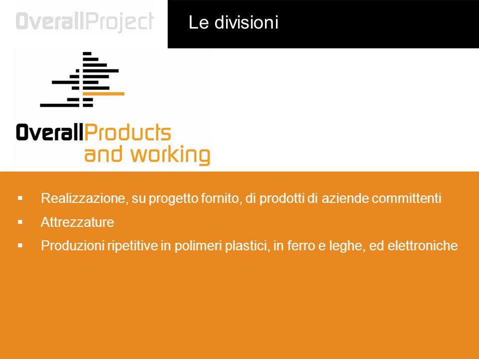 Le divisioni Realizzazione, su progetto fornito, di prodotti di aziende committenti Attrezzature Produzioni ripetitive in polimeri plastici, in ferro