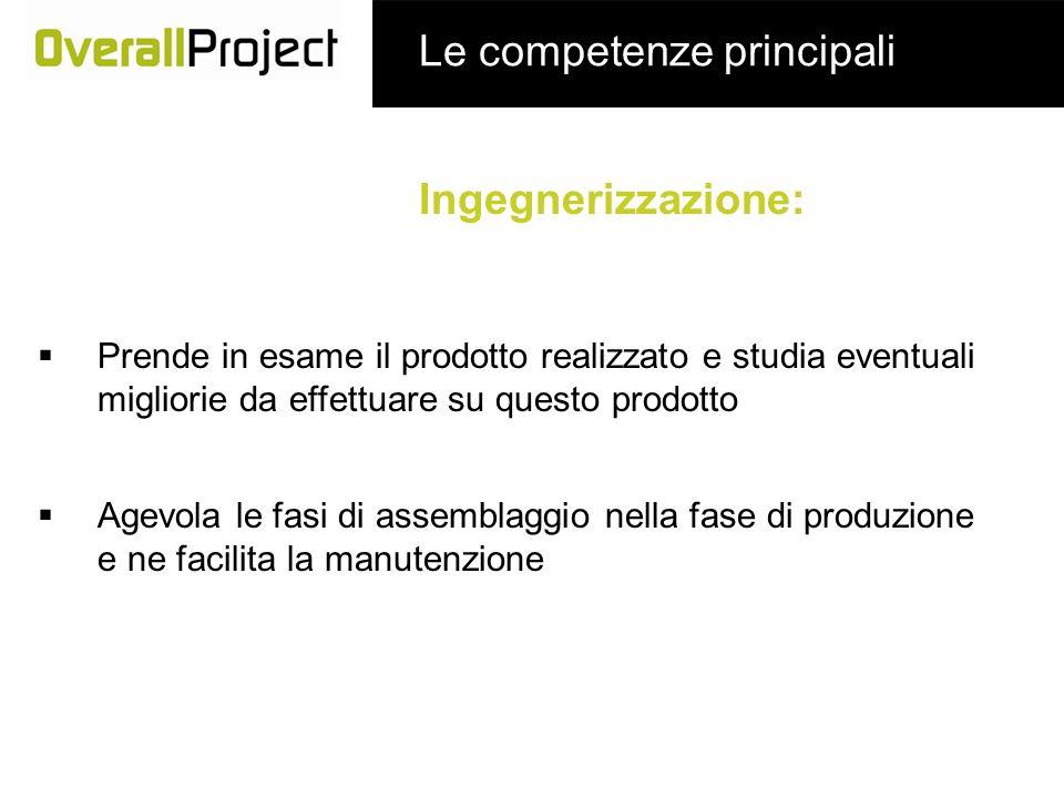 Ingegnerizzazione: Le competenze principali Prende in esame il prodotto realizzato e studia eventuali migliorie da effettuare su questo prodotto Agevo