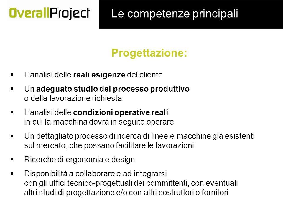 Le competenze principali Progettazione: Lanalisi delle reali esigenze del cliente Un adeguato studio del processo produttivo o della lavorazione richi