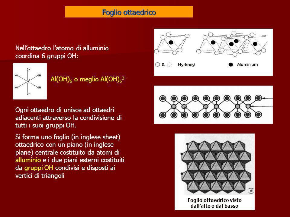 Foglio ottaedrico visto dallalto o dal basso Nellottaedro latomo di alluminio coordina 6 gruppi OH: Al(OH) 6 o meglio Al(OH) 6 3- Ogni ottaedro di uni