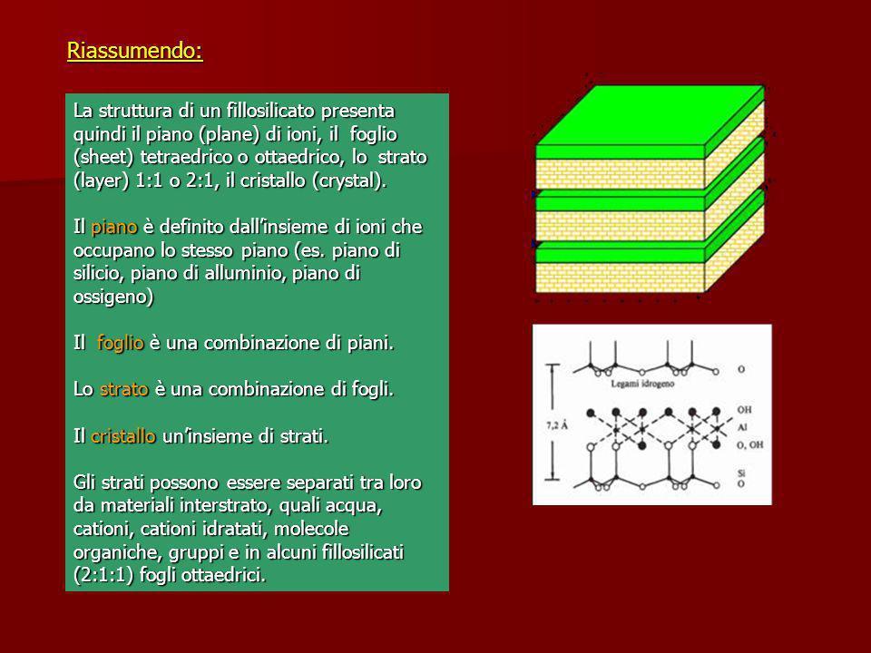 La struttura di un fillosilicato presenta quindi il piano (plane) di ioni, il foglio (sheet) tetraedrico o ottaedrico, lo strato (layer) 1:1 o 2:1, il