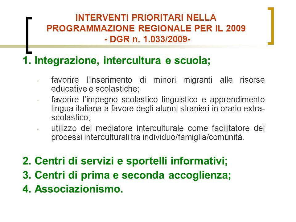 INTERVENTI PRIORITARI NELLA PROGRAMMAZIONE REGIONALE PER IL 2009 - DGR n.