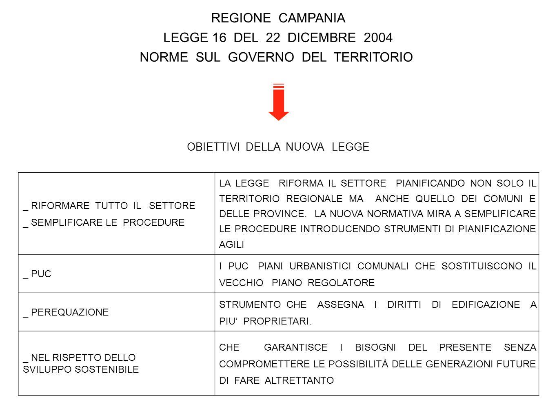 REGIONE CAMPANIA LEGGE 16 DEL 22 DICEMBRE 2004 NORME SUL GOVERNO DEL TERRITORIO OBIETTIVI DELLA NUOVA LEGGE _ RIFORMARE TUTTO IL SETTORE _ SEMPLIFICAR