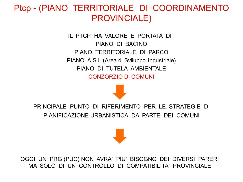 Ptcp - (PIANO TERRITORIALE DI COORDINAMENTO PROVINCIALE) IL PTCP HA VALORE E PORTATA DI : PIANO DI BACINO PIANO TERRITORIALE DI PARCO PIANO A.S.I. (Ar