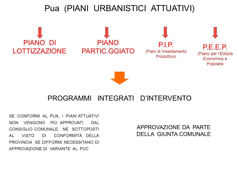 Pua (PIANI URBANISTICI ATTUATIVI) PIANO DI LOTTIZZAZIONE PIANO PARTIC.GGIATO P.E.E.P. (Piano per lEdilizia Economica e Popolare P.I.P. (Piani di Insed