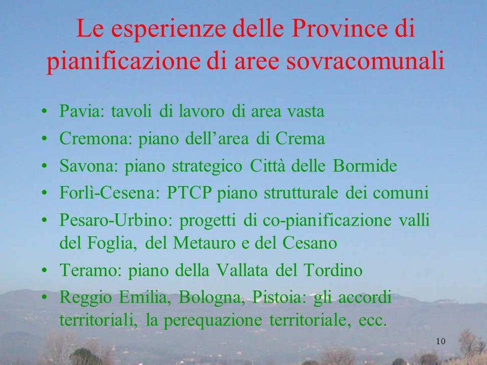 Le esperienze delle Province di pianificazione di aree sovracomunali Pavia: tavoli di lavoro di area vasta Cremona: piano dellarea di Crema Savona: pi