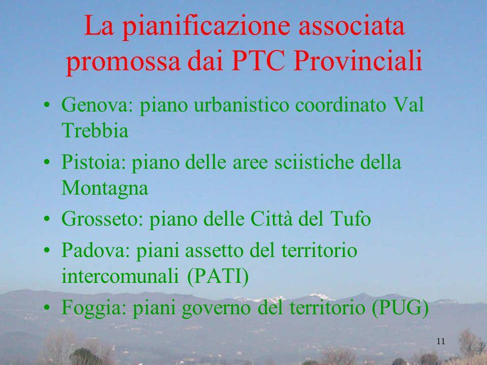 La pianificazione associata promossa dai PTC Provinciali Genova: piano urbanistico coordinato Val Trebbia Pistoia: piano delle aree sciistiche della M
