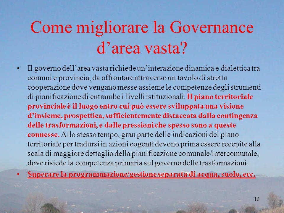 Come migliorare la Governance darea vasta? Il governo dellarea vasta richiede uninterazione dinamica e dialettica tra comuni e provincia, da affrontar