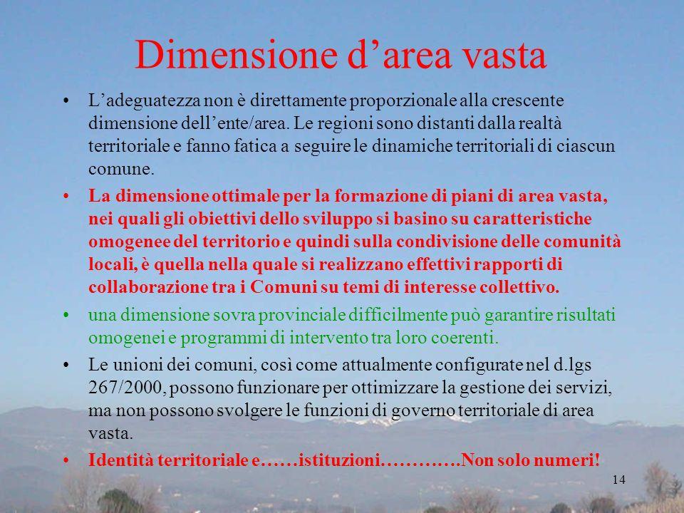Dimensione darea vasta Ladeguatezza non è direttamente proporzionale alla crescente dimensione dellente/area. Le regioni sono distanti dalla realtà te