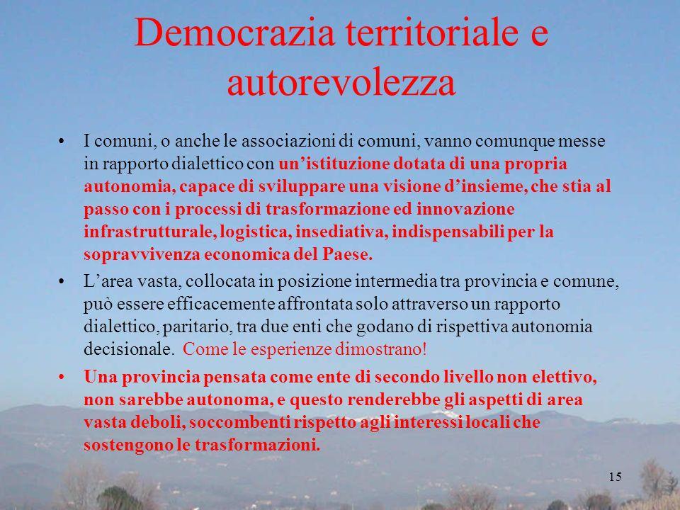 Democrazia territoriale e autorevolezza I comuni, o anche le associazioni di comuni, vanno comunque messe in rapporto dialettico con unistituzione dot