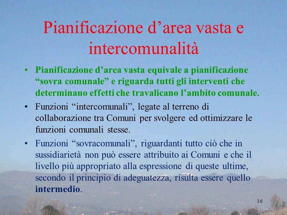 Pianificazione darea vasta e intercomunalità Pianificazione darea vasta equivale a pianificazione sovra comunale e riguarda tutti gli interventi che d
