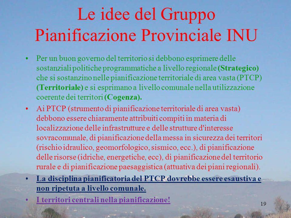 Le idee del Gruppo Pianificazione Provinciale INU Per un buon governo del territorio si debbono esprimere delle sostanziali politiche programmatiche a