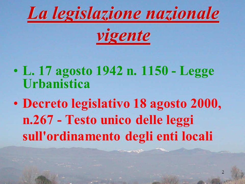 La legislazione nazionale vigente L. 17 agosto 1942 n. 1150 - Legge Urbanistica Decreto legislativo 18 agosto 2000, n.267 - Testo unico delle leggi su