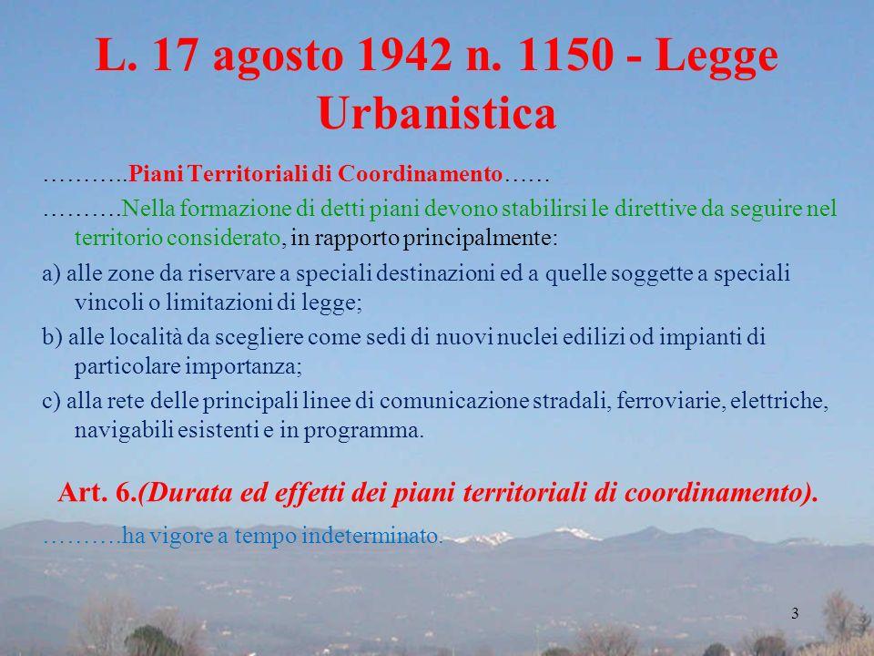 L. 17 agosto 1942 n. 1150 - Legge Urbanistica ………..Piani Territoriali di Coordinamento…… ……….Nella formazione di detti piani devono stabilirsi le dire
