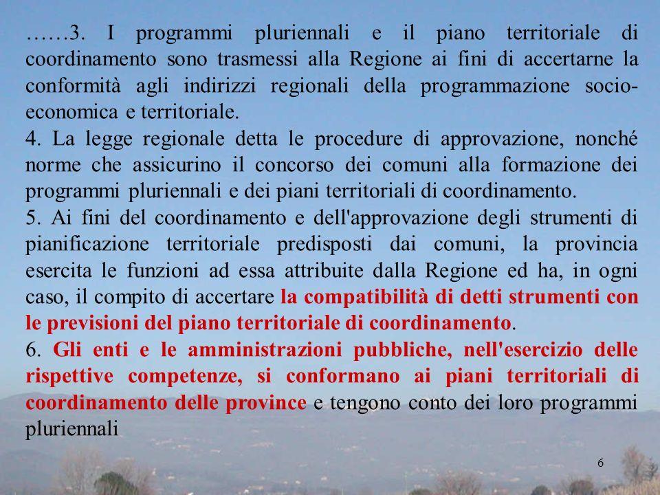 ……3. I programmi pluriennali e il piano territoriale di coordinamento sono trasmessi alla Regione ai fini di accertarne la conformità agli indirizzi r