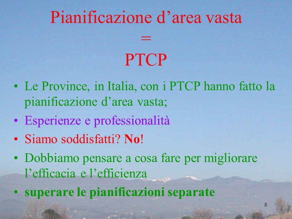 Pianificazione darea vasta = PTCP Le Province, in Italia, con i PTCP hanno fatto la pianificazione darea vasta; Esperienze e professionalità Siamo sod