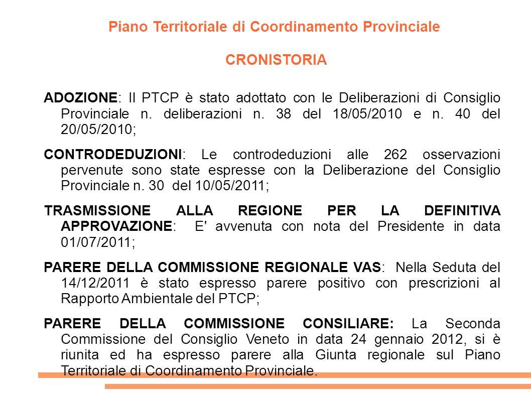 Piano Territoriale di Coordinamento Provinciale CRONISTORIA ADOZIONE: Il PTCP è stato adottato con le Deliberazioni di Consiglio Provinciale n. delibe