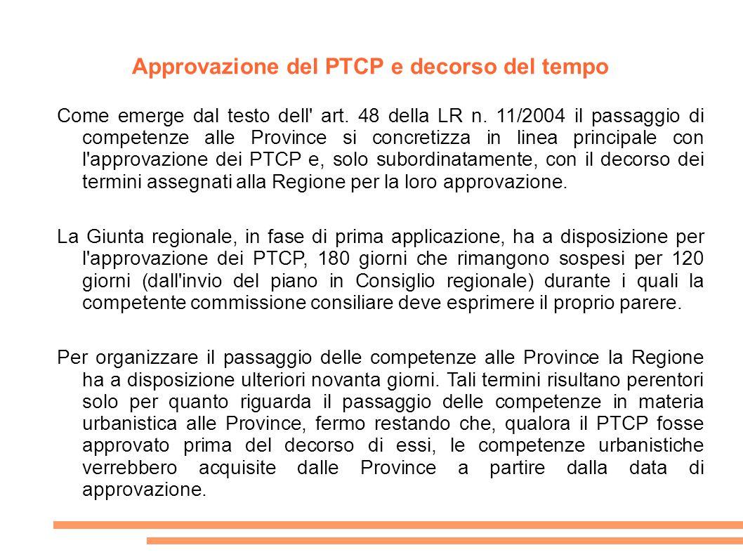 Approvazione del PTCP e decorso del tempo Come emerge dal testo dell' art. 48 della LR n. 11/2004 il passaggio di competenze alle Province si concreti