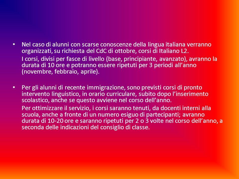 Nel caso di alunni con scarse conoscenze della lingua italiana verranno organizzati, su richiesta del CdC di ottobre, corsi di Italiano L2. I corsi, d