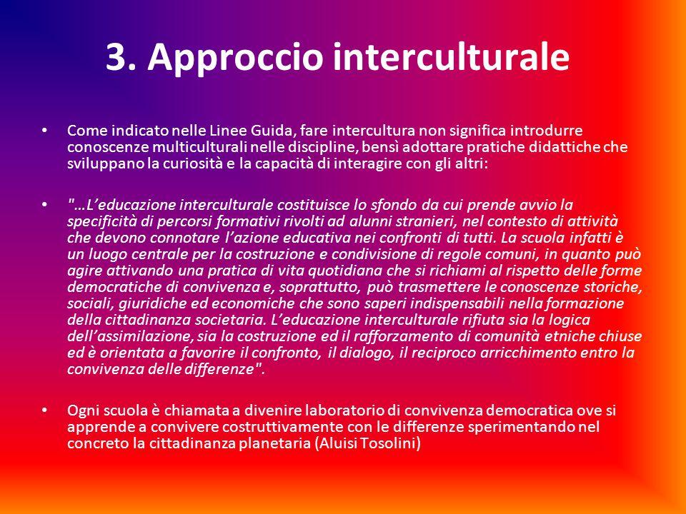 3. Approccio interculturale Come indicato nelle Linee Guida, fare intercultura non significa introdurre conoscenze multiculturali nelle discipline, be