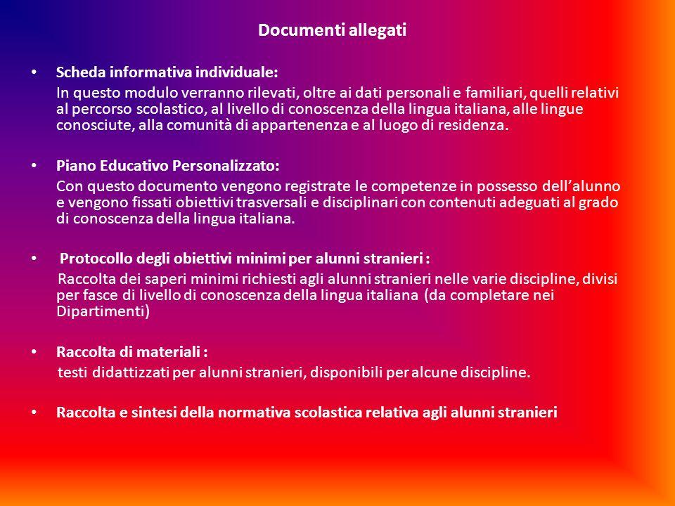 Documenti allegati Scheda informativa individuale: In questo modulo verranno rilevati, oltre ai dati personali e familiari, quelli relativi al percors
